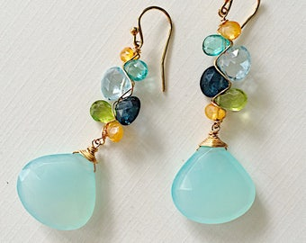 St. Tropez Woven Earrings with Kyanite, Apatite, Chalcedony, and Peridot
