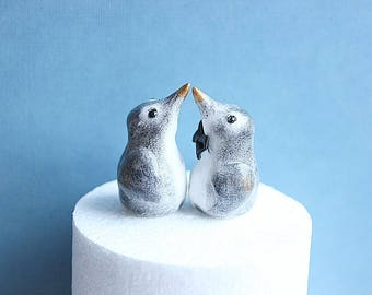 Clay Penguins - Penguin Cake Topper -Penguin Wedding Cake-Penguin Cake Topper -Penguin Topper-Winter Wedding - Winter Wedding Cake Topper