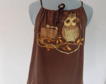 Turntable Owl Tank,  Upcycled Tank Top,  T-shirt, OOAK Shirt Summer Shirt, Upcycled Shirt,Tank Top, Upcycled, Recycled Tshirt Halter