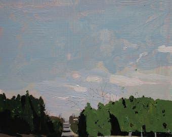 Light Wall, Original Late Autumn Landscape Painting on Card, Stooshinoff
