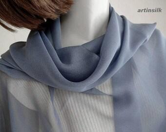 "Gunmetal Gray Scarf Pure Chiffon Silk, Sheer Medium Grey, Petite Small Shoulder Coverup 25x52"", Pure 100% Silk, Handmade, Artinsilk."