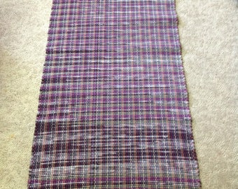 Rag Rug 68 inches long by 27 inches wide cotton flannel bedsheets handcrafted home decor plum purple gray