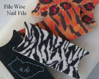 Summer Safari Tiger Zebra Leopard Owl File Wise Nail Files Bridal Shower Favor Beauty Manicure Teens Birthday Mini Nailfile DIY Nail Care
