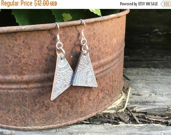CRAZY SALE- Embossed Leather Earrings-Shimmer-Triangles-Boho Earrings