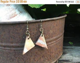 CRAZY SALE- Painted Leather Earrings--Triangles-Boho Earrings-Mini Canvas