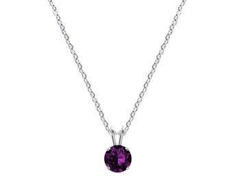 Swarovski Crystal Solitaire Necklace Sterling Silver Amethyst Purple Pendant or CHOICE OF COLOUR