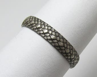 Dragon Scale ring Oxidized Sterling Silver Size 10 1/4