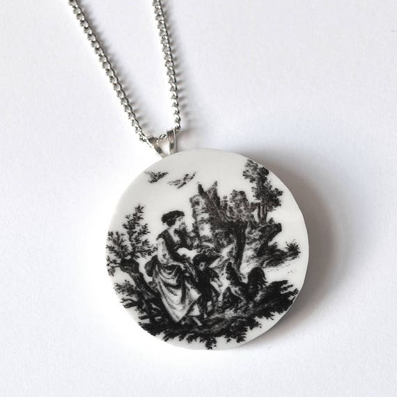 Simple Circle Broken Plate Pendant - Black and White Toile - Recycled China