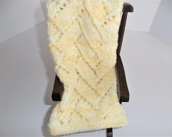 Doll Blanket -  Hand Knit Doll Blanket- Throw or Afghan - Yellow and White Mix - Doll Accessories - Comfort and Security -  Christmas Gift