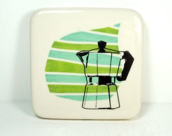 tile with green & blue green stripes and a Mokapot print, ready to ship