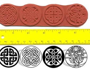 Celtic Round Knots Unmounted Rubber Stamp Set of 4vfg v