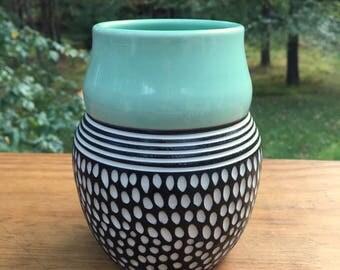 Carved Modern Spotted Porcelain Vase turquoise black white