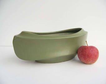 Vintage 60's Avocado Green Pottery Floraline Vase