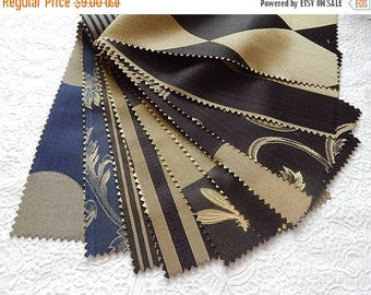 CLEARANCE - 10 pieces black navy silky patterned fabric pieces, each 4.75 x 9 inches
