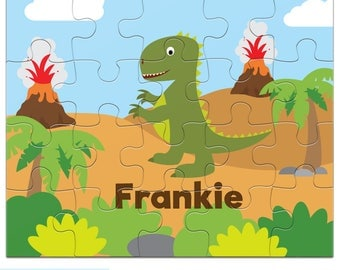 Dinosaur Puzzle - Personalized Puzzle for Kids - Green Dinosaur Puzzle with Child's Name - 20 pieces - 8 x 10 inches - Jigsaw Puzzle - TREX