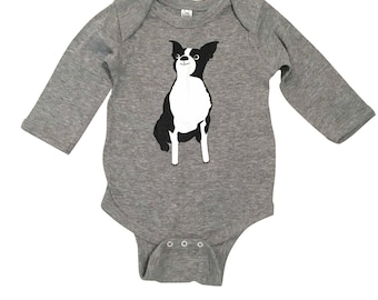 Boston Terrier Onesie - here's looking at you!