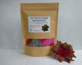 Felted Flower Brooch Kit - Pink and Orange - Wet Felting Kit - Felt Flowers - Felting Kit - Merino Roving - Felting Instructions - Flower