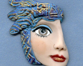 Polymer Clay Profile One of a kind Detailed and textured Face Shard  AHPT 4