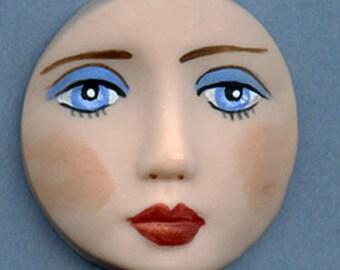 """Polymer Detailed Blue eyed  Face  Cab Round, Fleshtone   1 1/2""""   LBLF 1"""