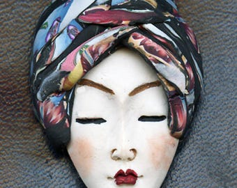 NEW ! OOAK Polymer Clay One of a kind Detailed   Face with Layered Abstract Hat ACNH 2