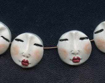 Lotof 4  White Polymer Detailed  Asian Face  Beads Side drilled WABS 4