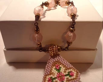 Lovely Beadwork Cross Petit Rose Pendant with Rosary Style Wrapped Bead Chain