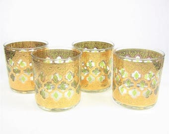 ON SALE Vintage Culver Rocks Glasses Valencia Mid Century Green and Gold Set of 4 Old Fashioned Bar Set