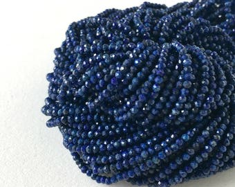 Lapis Beads - 13 inch Full Strand, 2mm Faceted Lapis Beads - Item 500