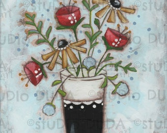 Print of my Original Whimsical Flower Mixed Media Painting -Funky Flowers One