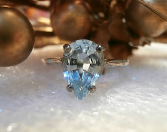 Beautiful Natural Sky Blue Topaz Pear shape of 925 Sterling Silver Ring 2 carat!