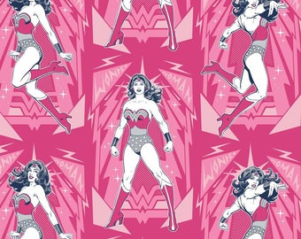 Wonder Woman Poses in Pink Magenta Licensed DC Camelot Fabric By The Yard