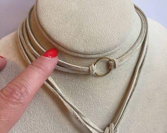 Ivory suede wrap bolo choker necklace