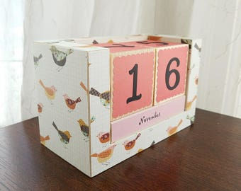 Perpetual Wooden Block Calendar - Little Artsy Happy Birds and Wrens on Graph Paper - Ready to Ship - Gifts for Her - Gifts for 20