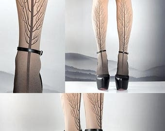 SALE///Happy2018/// Tattoo Tights -  Tree one size nude full length printed tights, pantyhose, nylons by tattoosocks