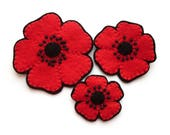 Felt Poppies Tutorial and Poppy Embroidery Pattern, PDF, sew beaded flower brooches, headbands and hairclips