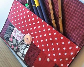 Bouche cousue, étui à crayons, tweed, pochette, tissus, pois, rouge, rose, tweed, écofriendly, fille, unique, tissus, couture