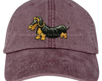 Embroidered Wirehaired Dachshund Ball Cap / Wild Plum