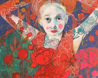 Peony's Grace - Original mixed media painting by Maria Pace-Wynters