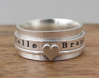 Spinner Ring, Fidget Spinner Ring, Personalized Ring, Hammered Ring, Sterling Silver Ring, Mom, Worry Ring, Anxiety Ring, Spinning