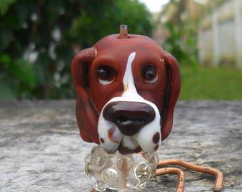 Basset Hound Lampwork Sculpture Artisan Handmade Brown Cream Dog Sculpture Glassymom SRA