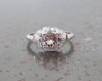 Antique Deco Morganite Diamond and 14k White Gold Ring