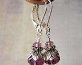 Amethyst Earrings Sterling Silver Lever Back Ear Wire 9 x 6 mm Czech Glass Dangle