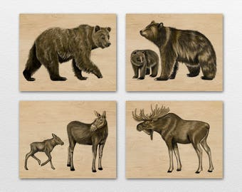 Set of Four Rustic Woods Bear and Moose family Art Prints. Cabin, woodland animal decor.
