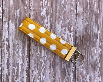 Key Fob. Key holder. Key Ring, Wristlet Key Chain. Gift For her. Gift Under 10.  Fabric Key Fob. Key Wristlet. Womens Keychain. Polka Dots.
