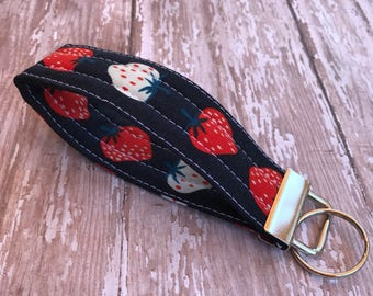Strawberry Key Fob Wristlet Key Chain   Key holder Gift For her  Fabric Key Ring Gift Under 10   Wrist Lanyard Stocking Stuffer