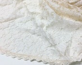 """100 x 100 cm / 40x40"""" circular — delicate non-stretchy corded tulle lace fabric w/ floral pattern, ivory"""