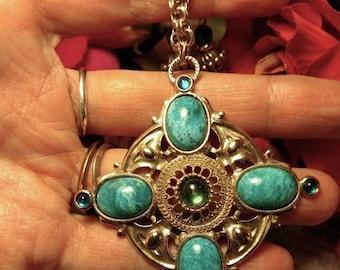Flash Sale Signed 1928 Vintage 1980s Renaissance Style Long Gold Statement Pendant Necklace Faux Turquoise Green Stones