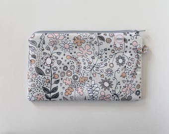 Small zipper pouch, cash envelope, Eyeglass case, Pen pencil, cash wallet, Cosmetic makeup bag, sunglasses, purse organizer, Gray Pink