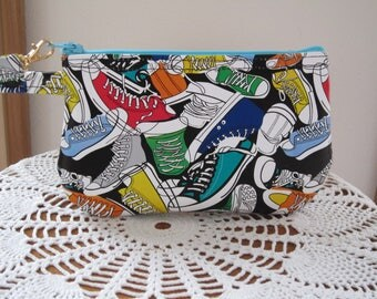 Sneakers, Gift for Teen, Wristlet, Zipper Gadget Pouch, Purse,  Retro Colorful Sneakers