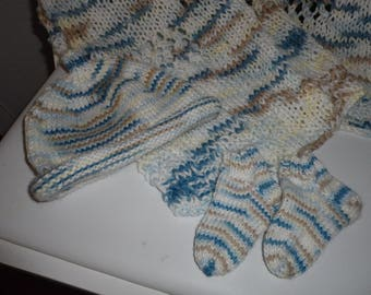 Shades of Blue, White and Tan Knitted Baby Blanket, Hat and Booties